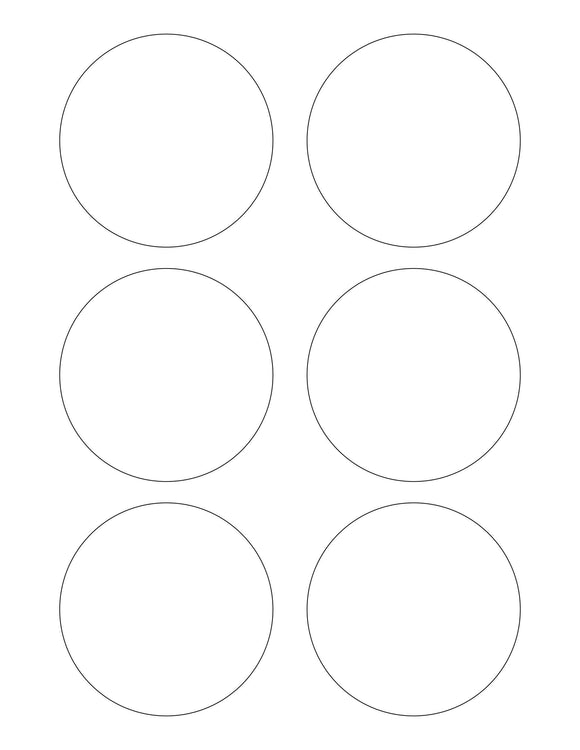 3 1/8 Diameter Round Removable White Printed Label Sheet