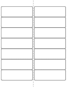 4 x 1 1/3 Rectangle (w/ perfs) Recycled White Label Sheet