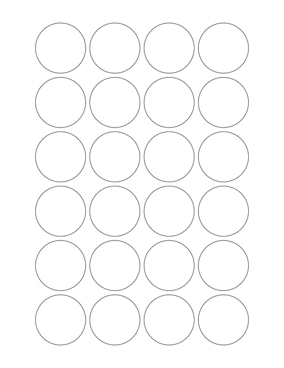 1 1/2 Diameter Round All Temperature White Printed Label Sheet (24 up)