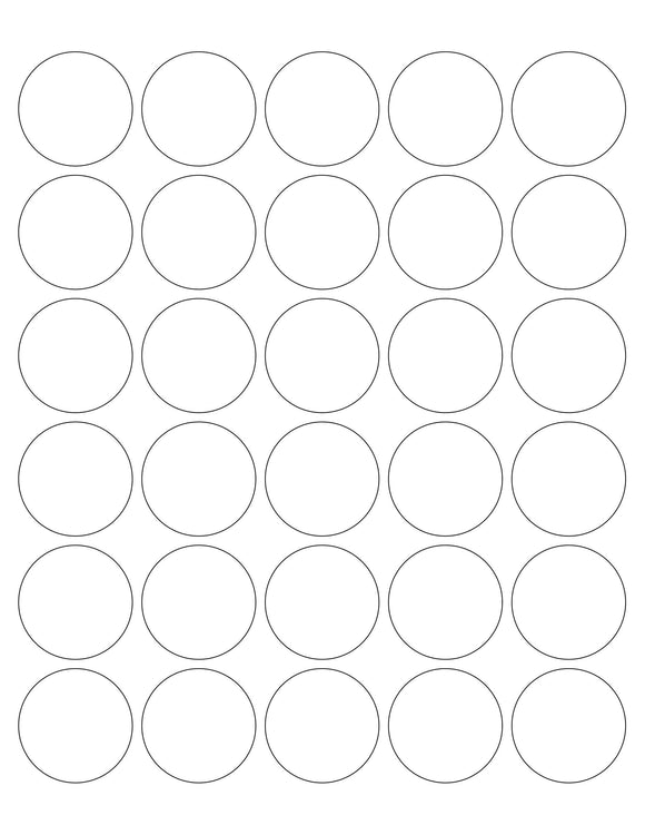 1 1/2 Diameter Round Clear Matte Polyester Inkjet Label Sheet (30 up)