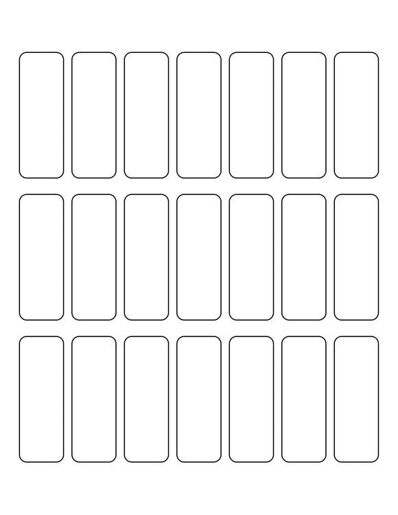 0.9831 x 2.7205 Rectangle White High Gloss Printed Label Sheet