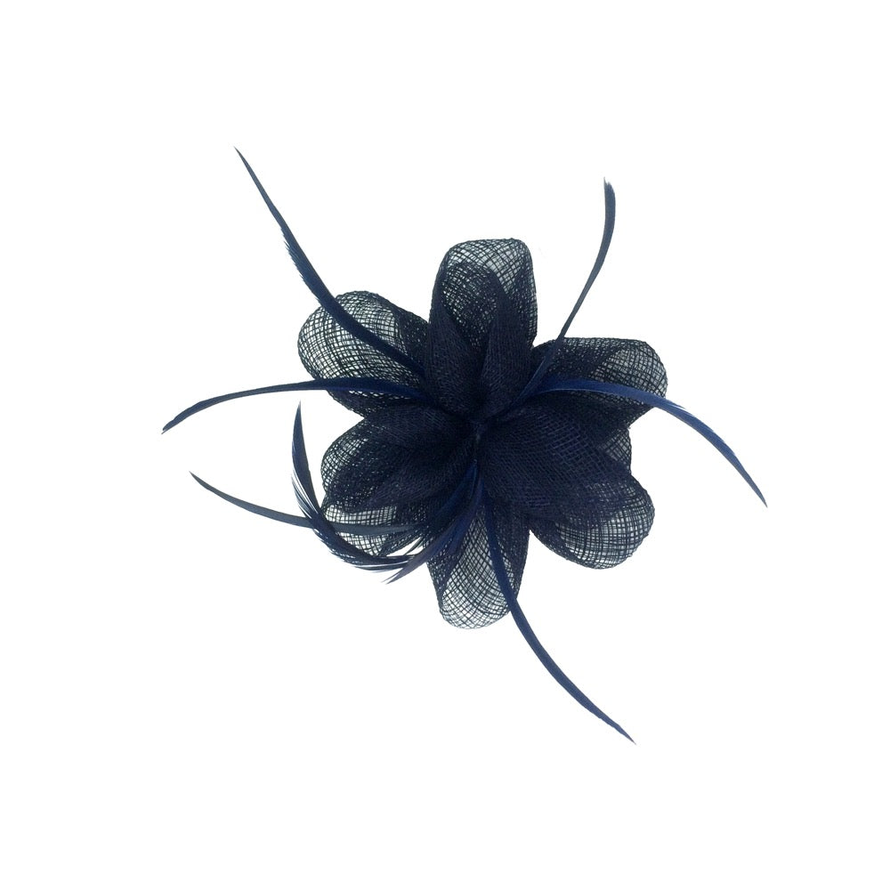 Fascinator feather flower navy