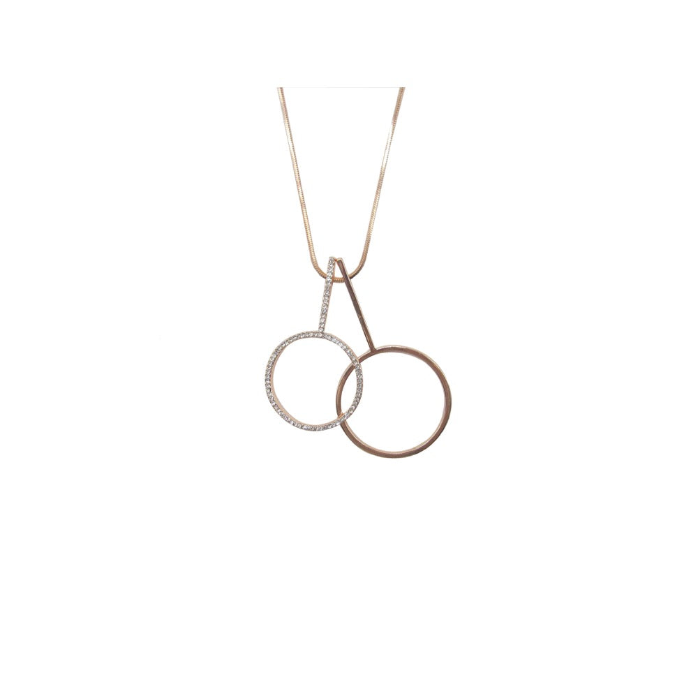 Long Duo Circle Necklace Rose Gold