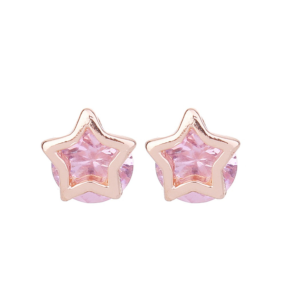 Delicate Ears Star Earring Rose Gold Plating