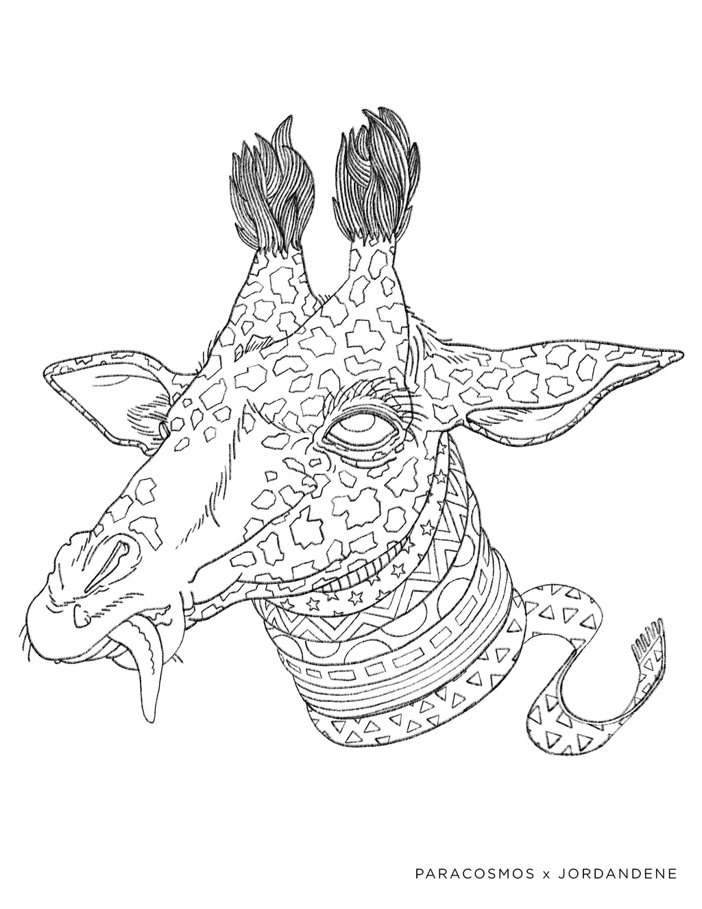 Space Giraffe Free Coloring Page