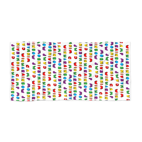 Beach Towel Camp Winnarainbow Bubble Letter