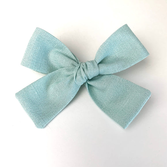 Mint Glitter Laced Linen Isabella Bow