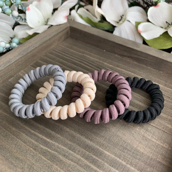 Neutral Spiral Twisted Hair Ties
