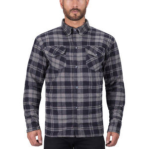 Viking Cycle Gray Textile Motorcycle Flannel Shirt for Men