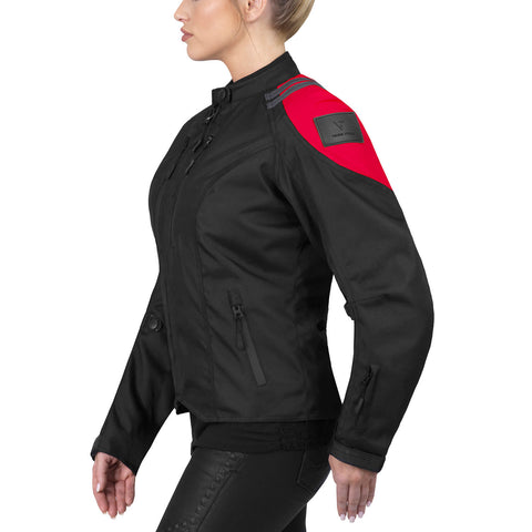 Viking Cycle Ironborn Red Textile Motorcycle Jacket for Women