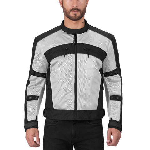 Viking Cycle Ironside Silver Textile Motorcycle Jacket for Men