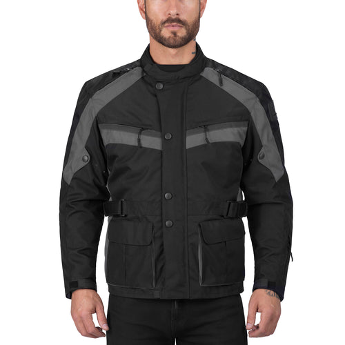 Viking Cycle Enforcer Gray Textile Motorcycle Touring Jacket for Men