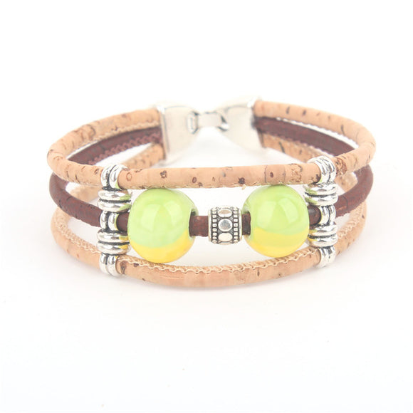 Natural Cork Glass Bead Bracelets - Multiple Styles