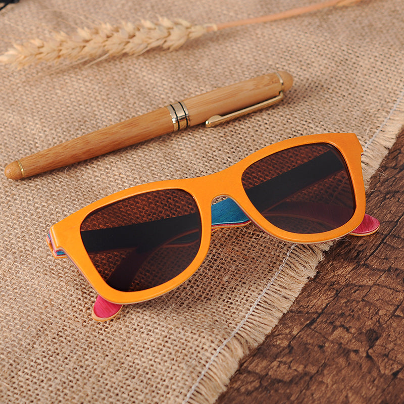 Multi Layer orange wood sunglasses made from skateboard decks