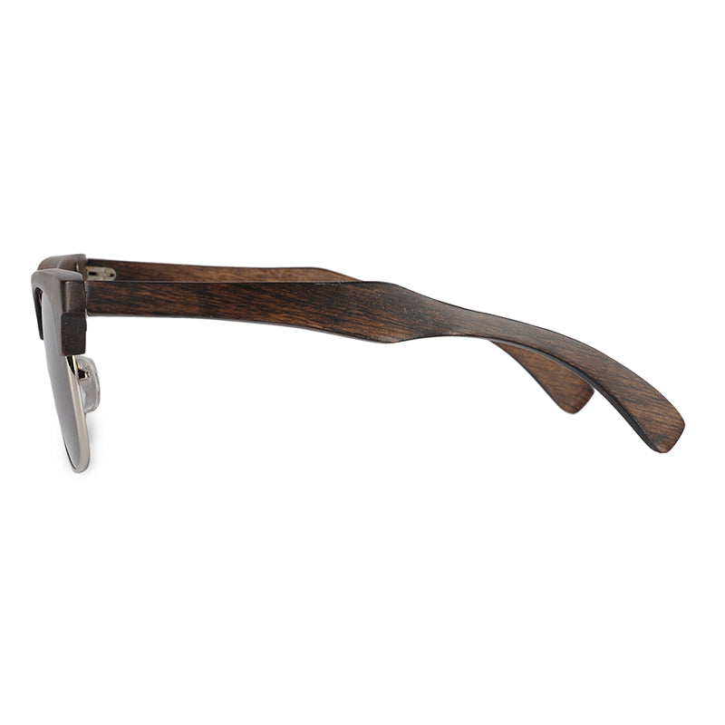 Luxury Semi-Rimless Sunglasses With Ebony Wood arms