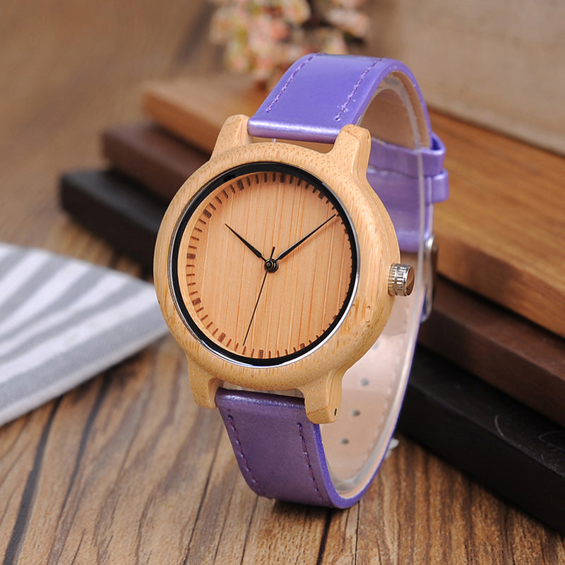 Unique Bamboo Quartz Wrist Watch With Leather Strap