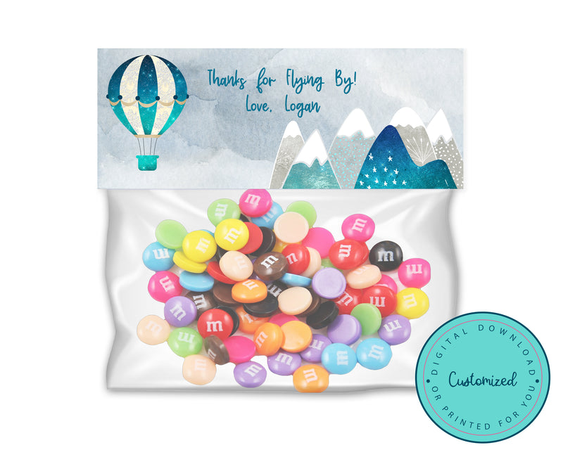 Personalized Hot Air Balloon Goodie Bag Toppers