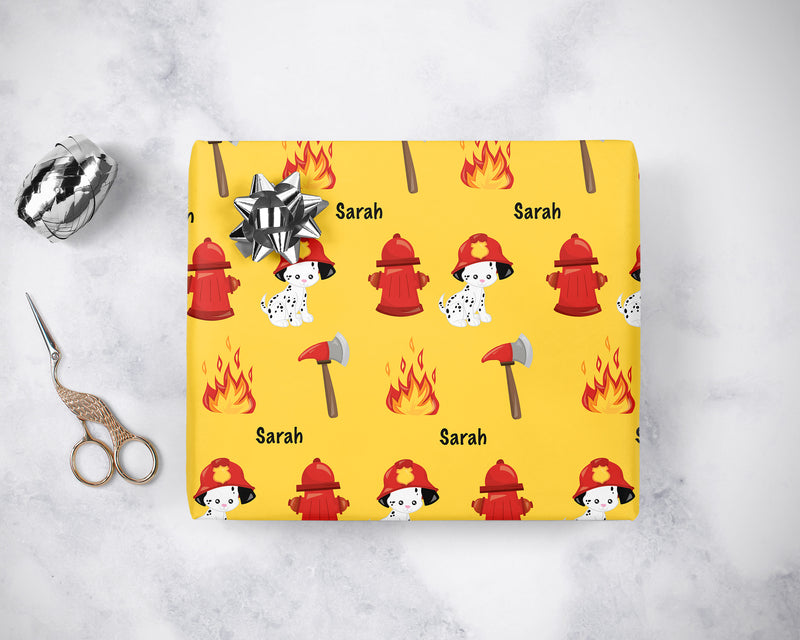 Personalized Firefighter Dalmatian Dog Wrapping Paper