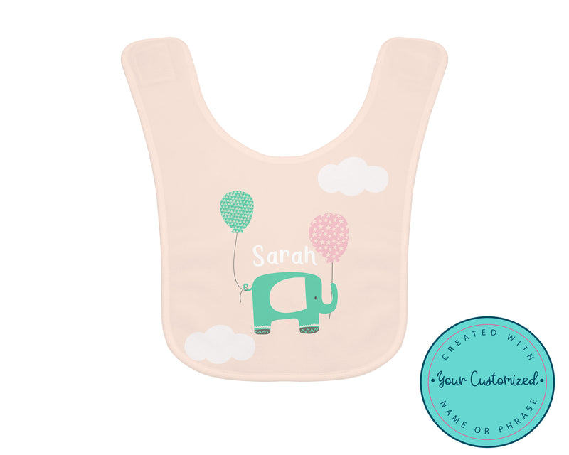 Personalized Flying Elephant Pink Baby Bib