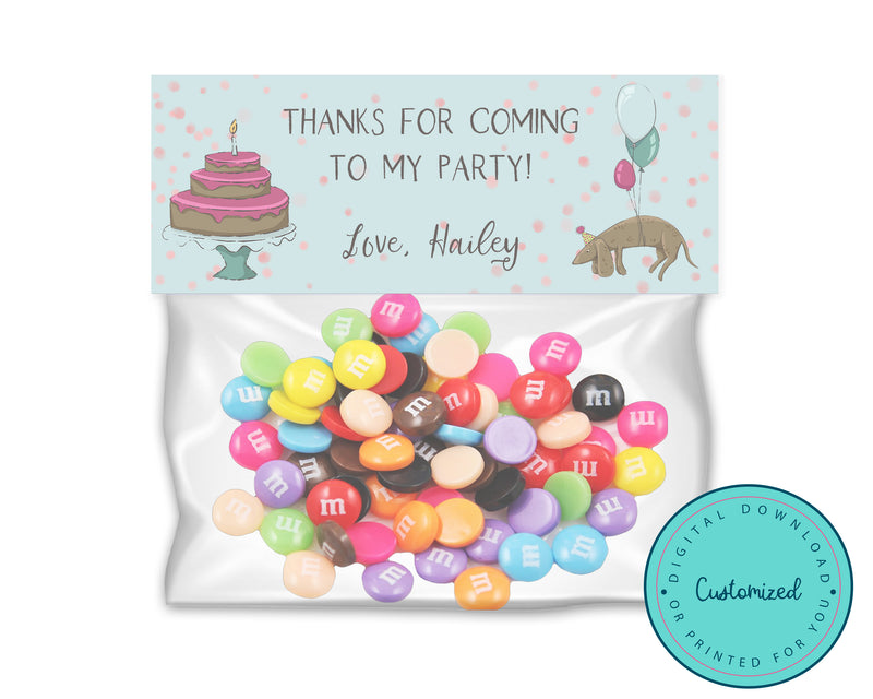 Personalized Weiner Dog Birthday Balloons Goodie Bag Toppers
