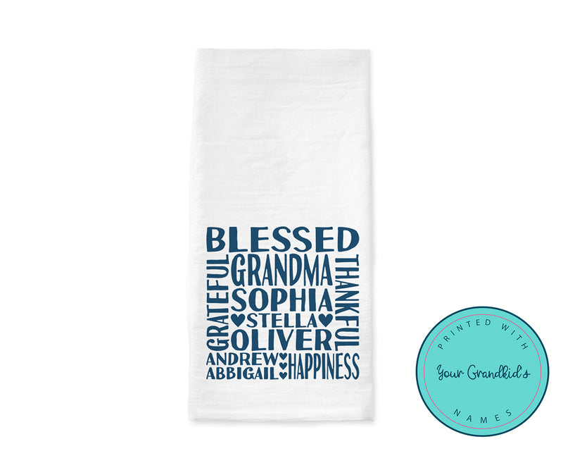 Personalized Grandchildren Names Flour Sack Tea Towel