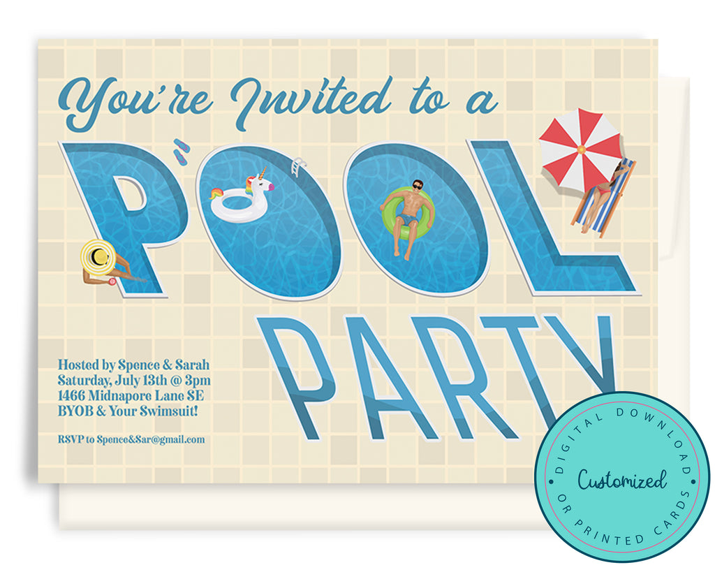 Summer Pool Party Invitation