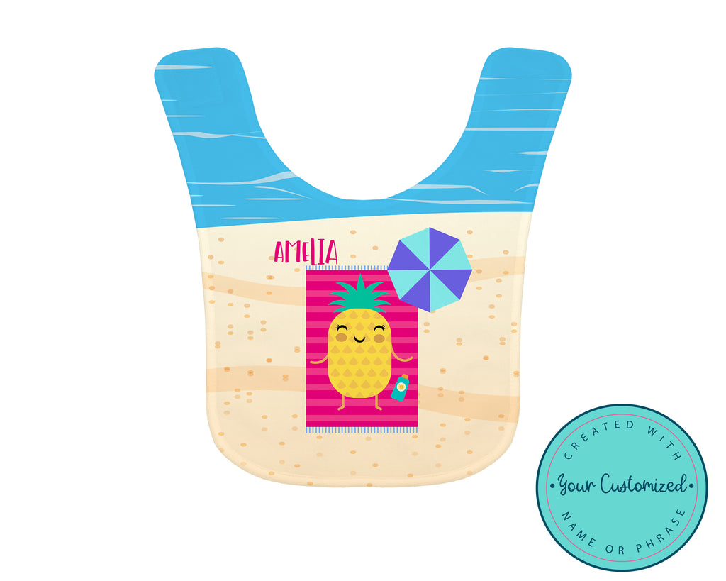 Personalized Roasted Pineapple Beach Baby Bib
