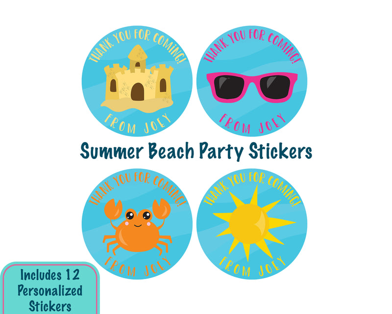 Personalized Beach Party Favor Stickers