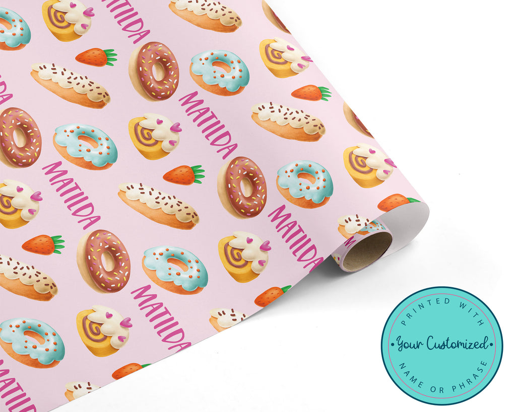 Personalized Donuts and Sweet Pastry Treats Wrapping Paper