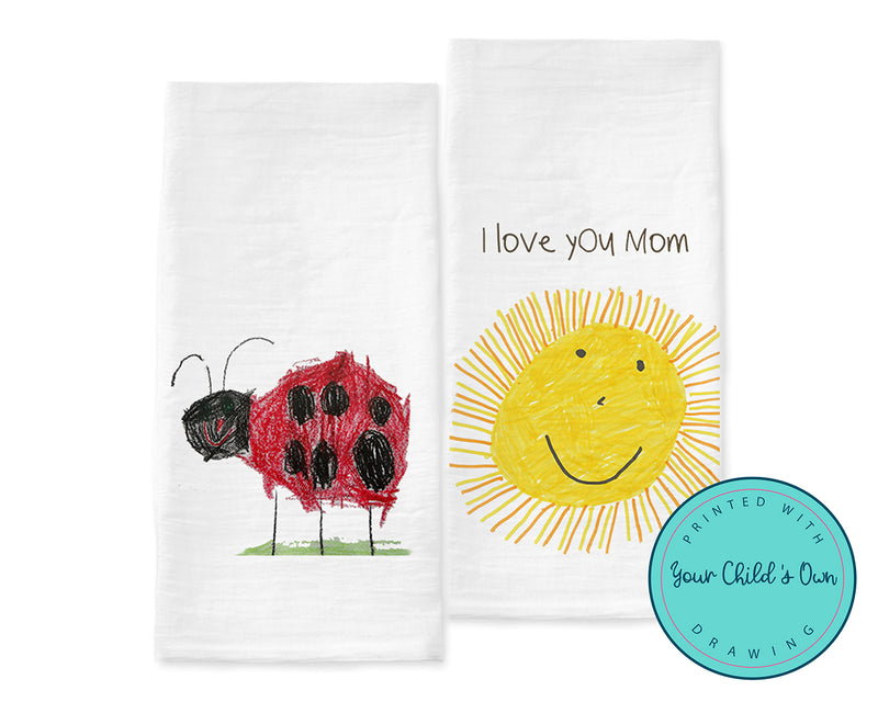 Personalized Flour Sack Tea Towel with your Child's Own Drawing