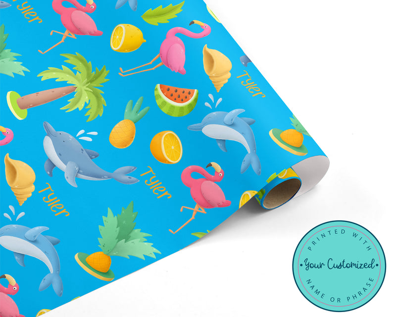 Personalized Tropical Summer Wrapping Paper