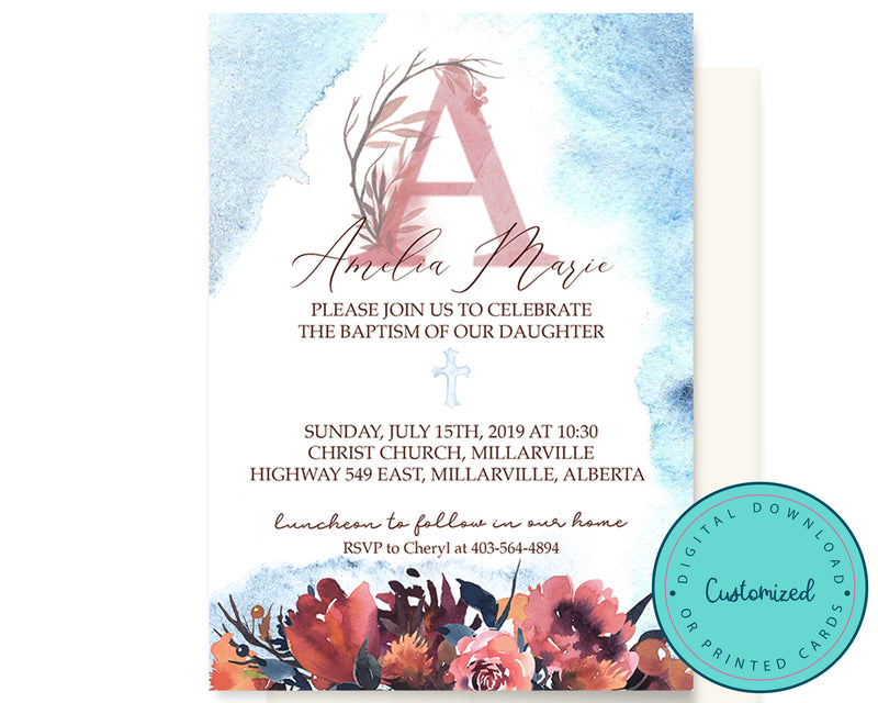 Watercolour Monogram Baptism Invitation