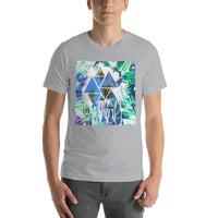 Tropical Leafs & Palm Trees Cool Polygon Graphic  Short-Sleeve T-Shirt