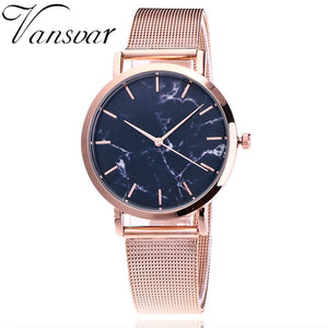 Fashion Silver And Gold Mesh Band Creative Marble Wrist Watch for Women