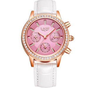 Women's Luxury Brand Casual Watch Pink Dial White Band