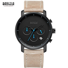 Simple Analogue Black Quartz Watch Leather Bracelet