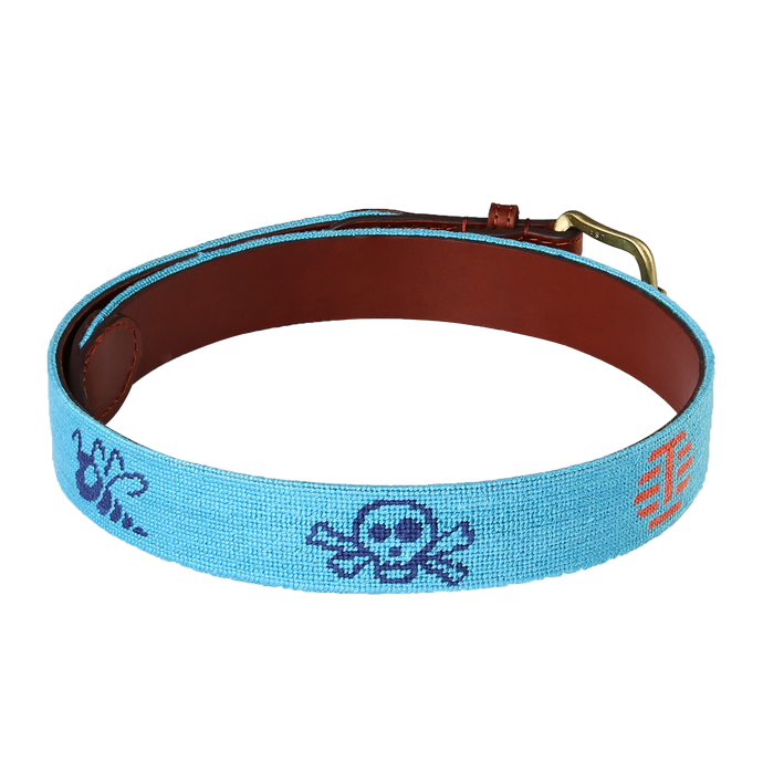 Tour Multi-Icon Teal Needlepoint Belt