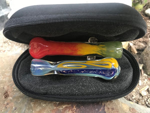 "New! 2 Handmade One Hit Pipes, 1 -Dicro,1-Rasta + FREE 5"" Zipper Pouch - Volo Smoke and Vape"