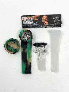 "Best Mini 6.5"" Detachable Silicone Bong Silicone Hand Pipe Bob Marley Papers"