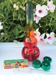 "Bent Neck 8"" Rasta Best Water Bong 3 Part Mini Grinder Bob Marley Rolling Papers - Volo Smoke and Vape"