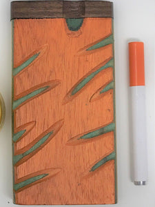 Carved Wood Dugout with metal bat (Orange and Green) - Volo Smoke and Vape