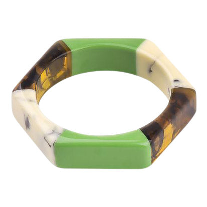 Vega Bangle in Green & Marble