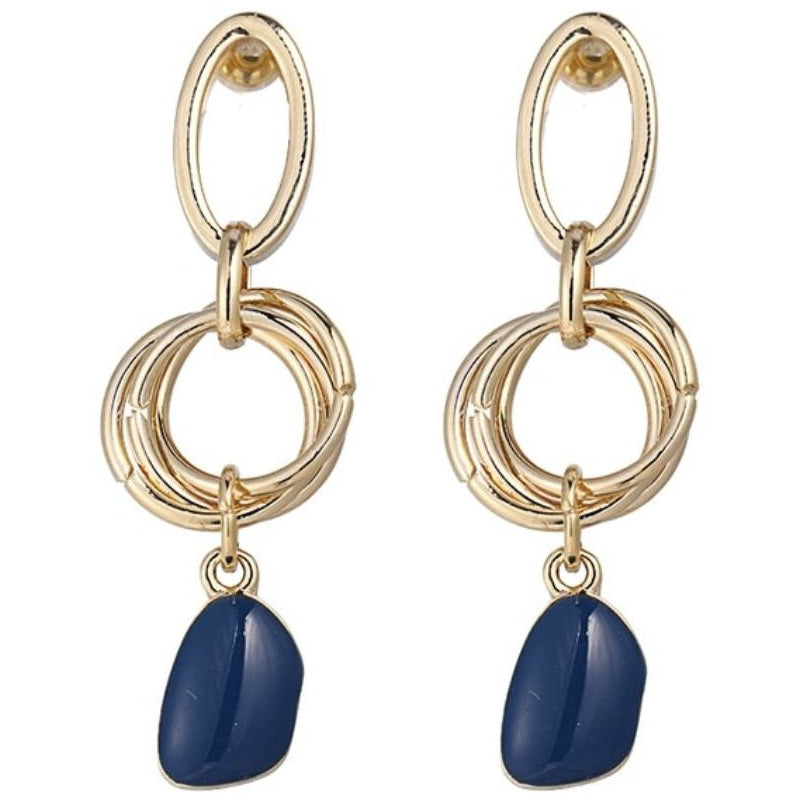 Jordan Earrings by Mint and Moss Gold and Navy Statement Earrings