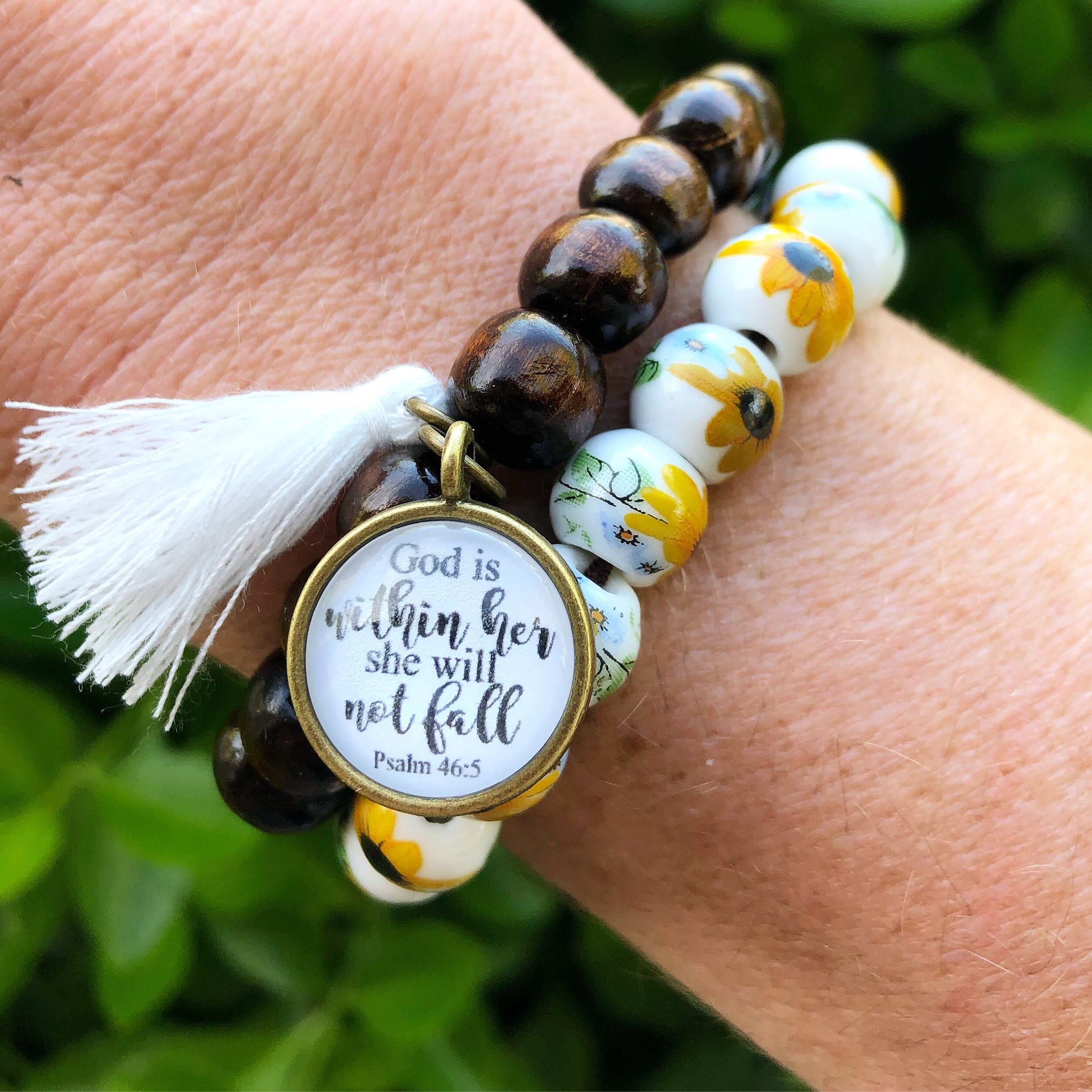 God is Within Her Dark Wood Bead Bracelet STACK