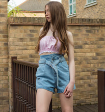 LACHERE Belted Denim Shorts