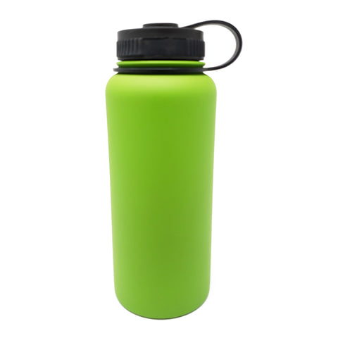 32 oz Double Wall 18/8 Pro-Grade Stainless Vacuum Sealed Big Mouth Water Bottle with Leak-Proof Black Stay-On Cap  | Great For Alkaline Water Storage - Green