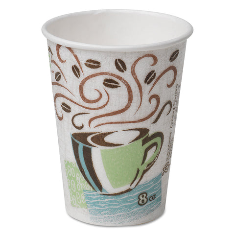 Dixie Hot Cups, Paper, 8oz, Coffee Dreams Design, 500/Carton