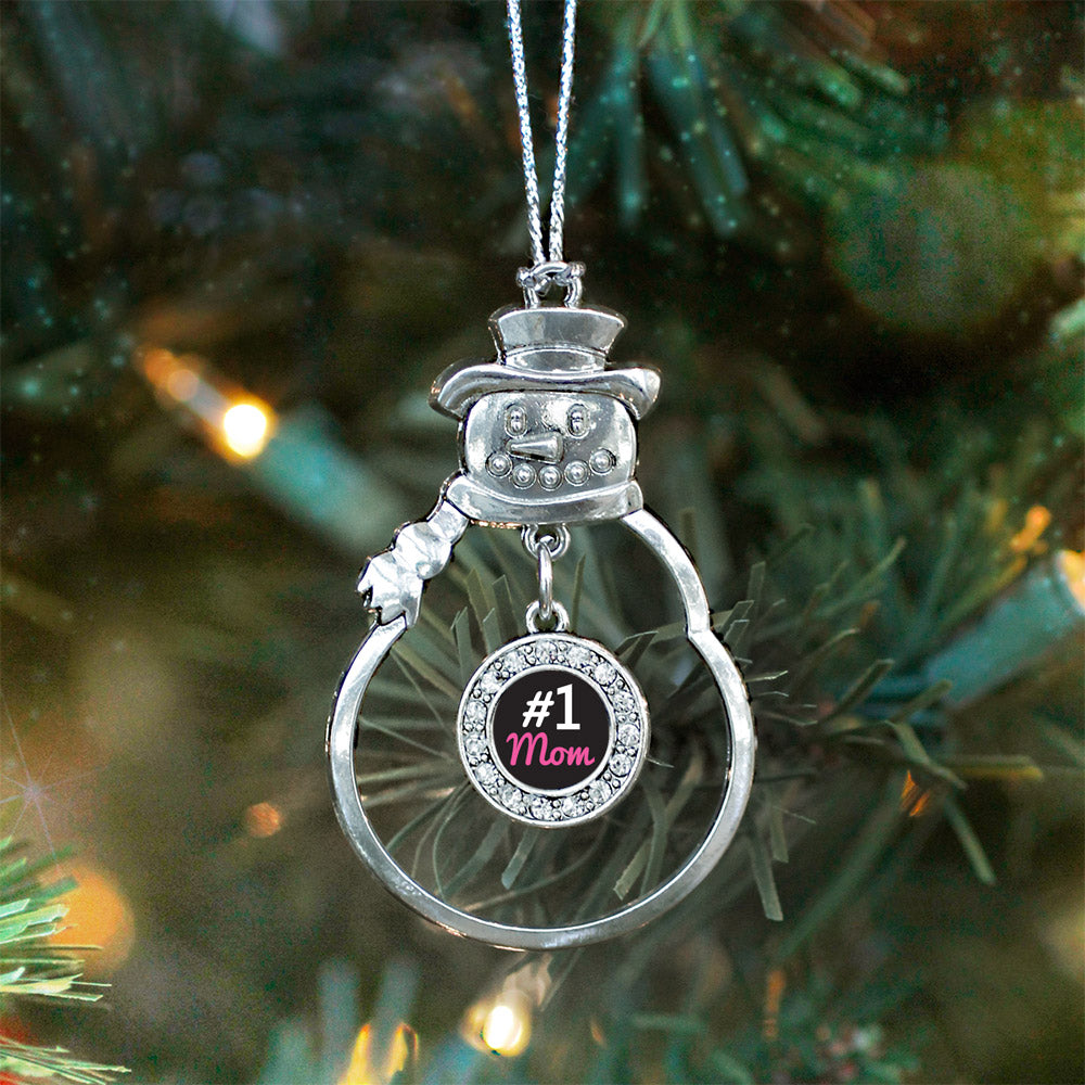 #1 Mom Circle Charm Christmas / Holiday Ornament
