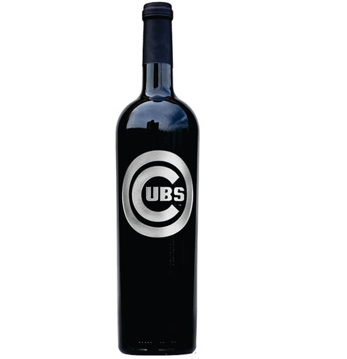 Chicago Cubs Etched Logo Wine