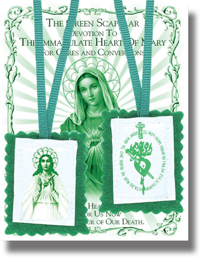 Plain Green Scapular 10-Pack